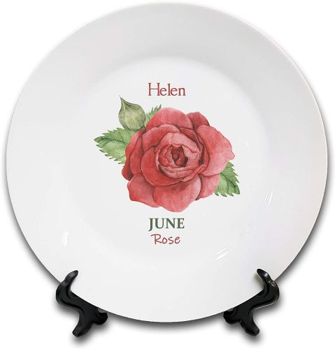 Personalised Flower of The Month June Novelty Gift Ceramic Plate & Stand